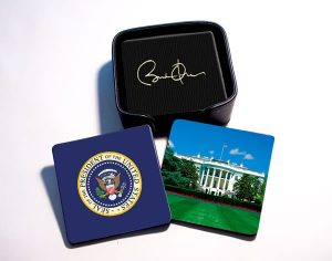 POTUS DRINK COASTERS WITH HOLDER