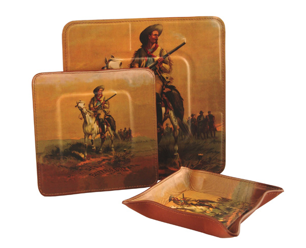 WESTERN VALUABLES TRAY, COASTER SET