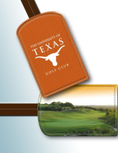 BAG TAG - UNIVERSITY OF TEXAS WHITE ON TAN